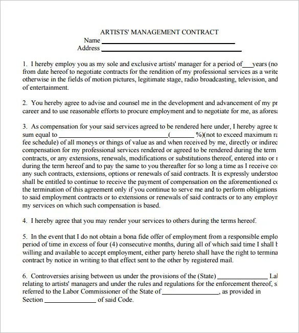 Manager Contract Templates  BesikEightyCo