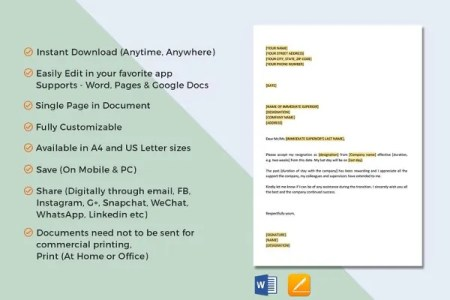 Free Resume Templates 2018 » sample format of resignation letter pdf ...