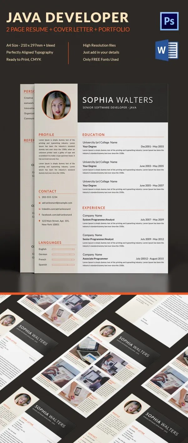 Java Developer Resume Template     11  Free Word  Excel  PDF PS Format     2 Page Java Developer Resume   CV Template