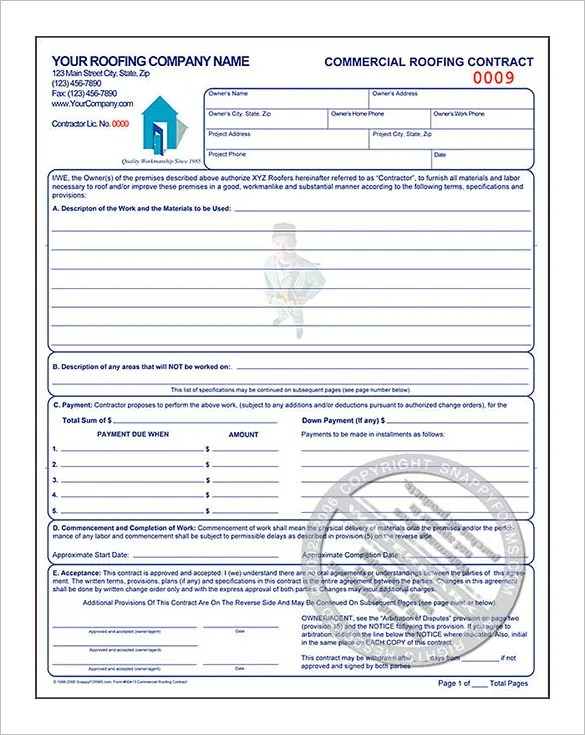 Roofing Estimates Templates Amp Roofing Contract Form