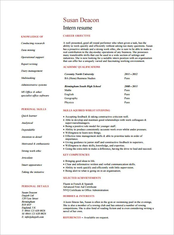 Resume For Internship Template  Resume Sample