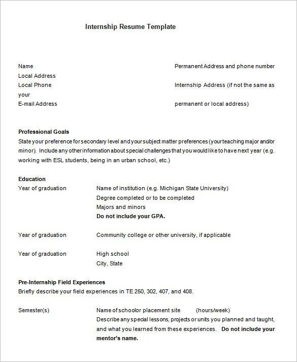 10 Internship Resume Templates Pdf