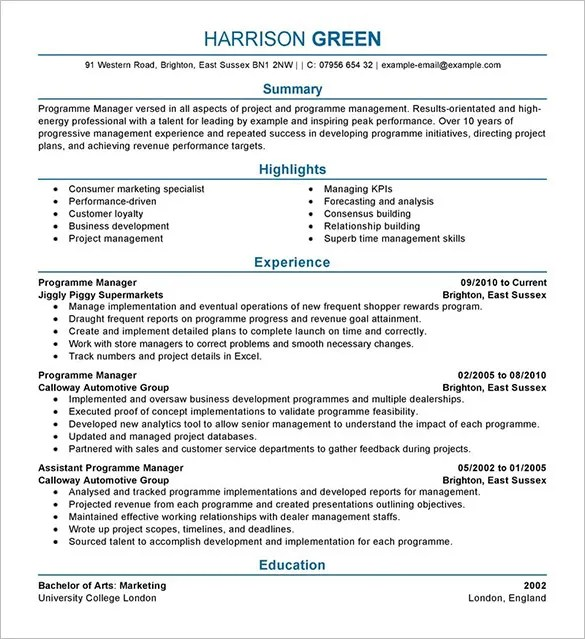 Resume Templates For Retail Management Positions - Resume Sample