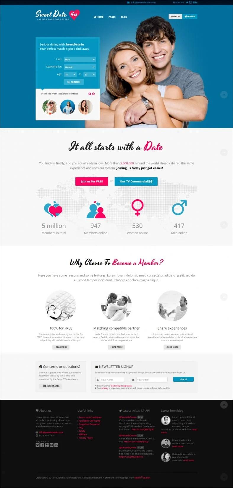 9 Latest Dating Landing Page Templates Free Amp Premium Templates