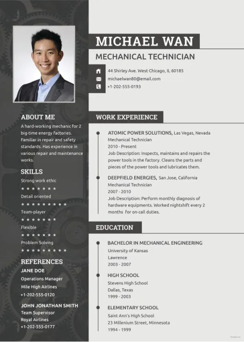 Mechanical Technician Fill in Blank Resume Templates