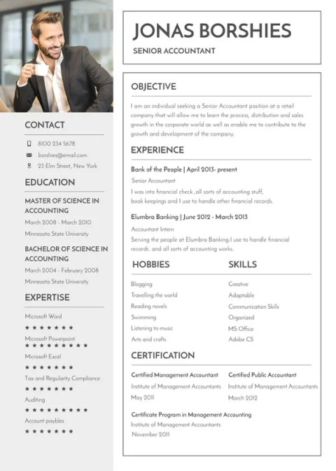 Professional Banking Fill in Blank Resume Templates to Edit