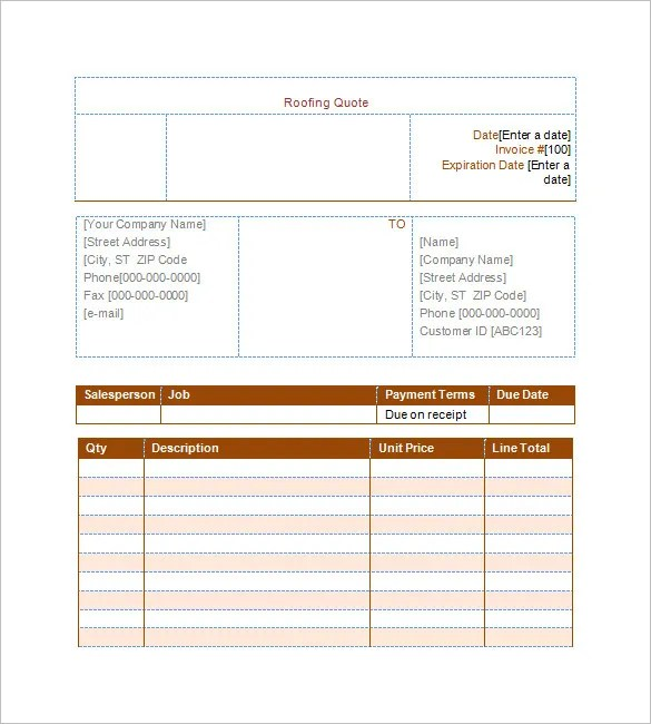 roofing estimates templates free download