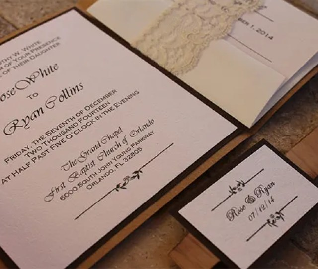 Rustic Wooden Lace Weddings Pocketfold Envelope Templates For
