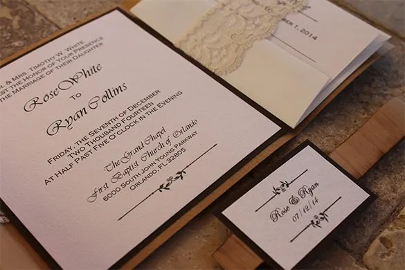 Rustic Wooden Lace Weddings Pocketfold Envelope Templates For 362