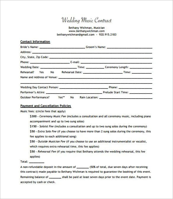 20 Music Contract Templates Word PDF Google Docs