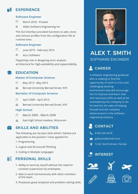 Software Engineer Fresher Fill In Blank Resume Templates