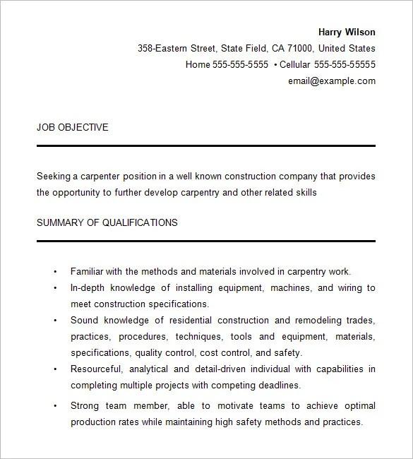 Carpenter Resume Template 9 Free Samples Examples Format