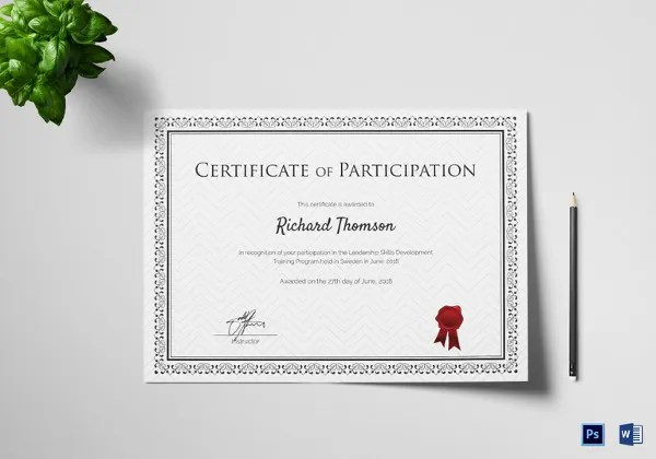 27  Training Certificate Templates   DOC  PSD  AI  InDesign   Free     Attractive Training Participation Certificate Template