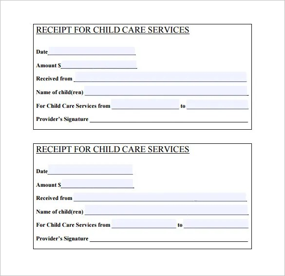 Child Care Receipt Template Free Download
