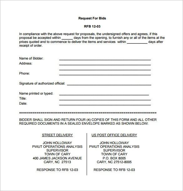 Bid Proposal Template 17 Free Sample Example Format Download Free Premium Templates