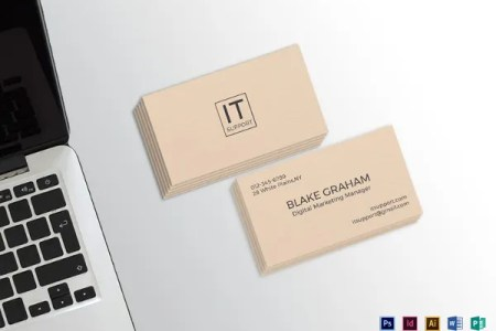 18  Information Technology Business Cards   Free PSD  AI  Vector EPS     IT Support Business Card Template