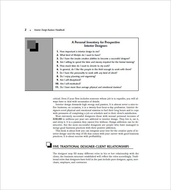 Interior Design Business Plan Sample