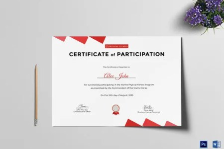 27  Training Certificate Templates   DOC  PSD  AI  InDesign   Free     Physical Fitness Certificate of Participation