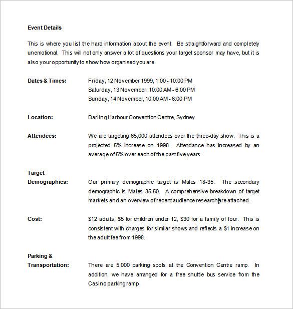 Doc732894 How To Write A Sponsor Proposal Sponsorship – Sample of Proposal for Sponsorship