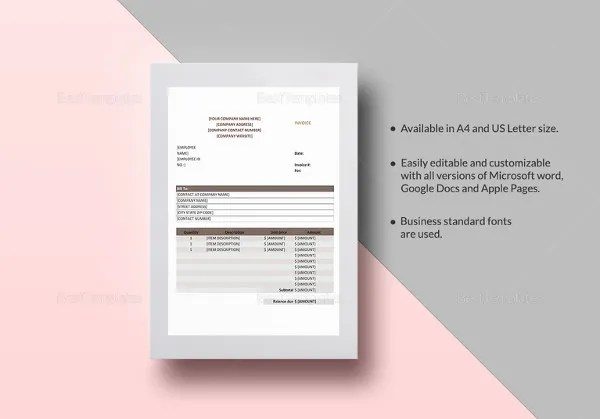 Google Invoice Template   25  Free Word  Excel  PDF Format   Free     Sales Invoice Template in iPages