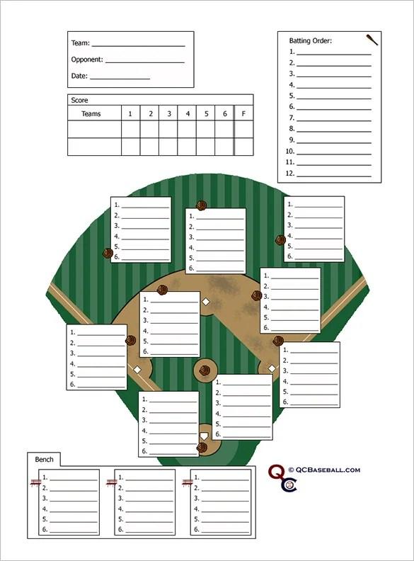 baseball lineup card template - free download