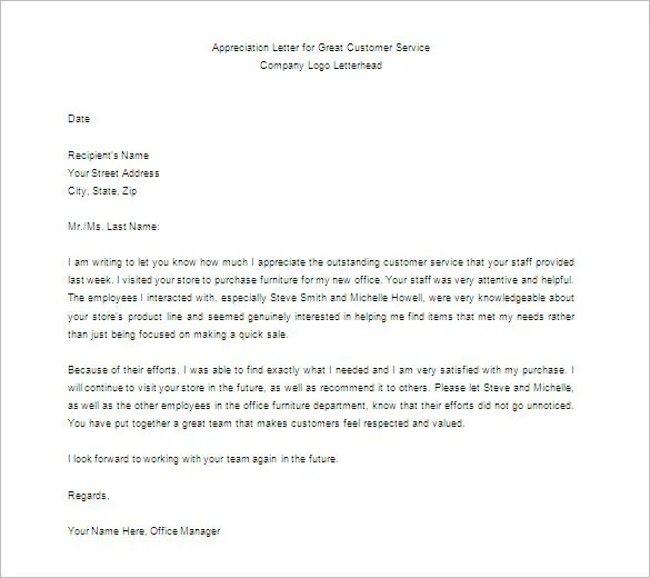 Sample Letters Of Appreciation For Good Customer Service