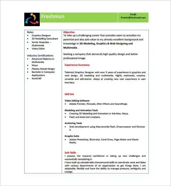 resume template for fresher 10 free word excel pdf format - Resume In Pdf Format