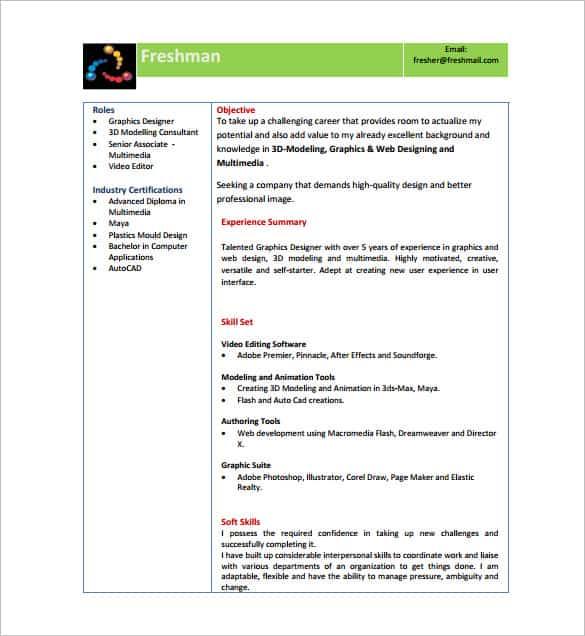 14 Resume Templates For Freshers Pdf Doc Free Premium