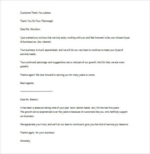 Customer Thank You Letter Examples  Docoments Ojazlink