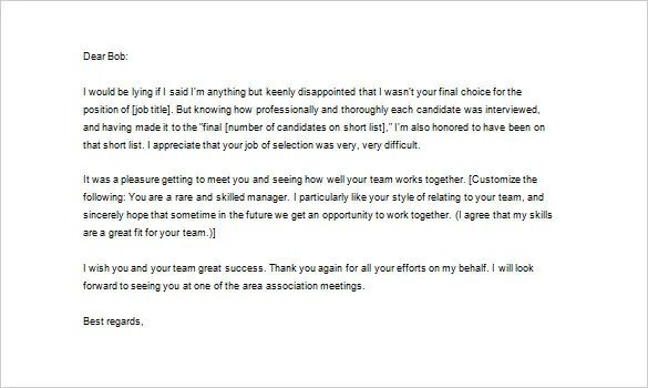 Interview Rejection Thank You Letter Letter Redglobalmx