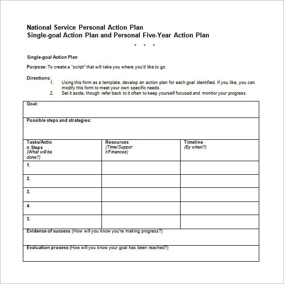 Professional Action Plan Template