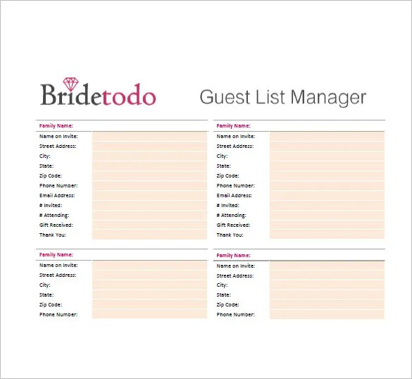 Guest List Template Free. Create A Wedding Guest List Template For
