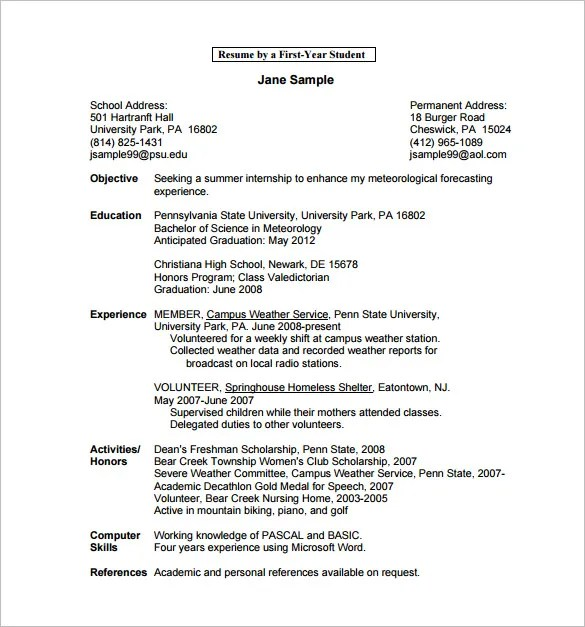 Undergraduate Resume Template Word  Resume Sample
