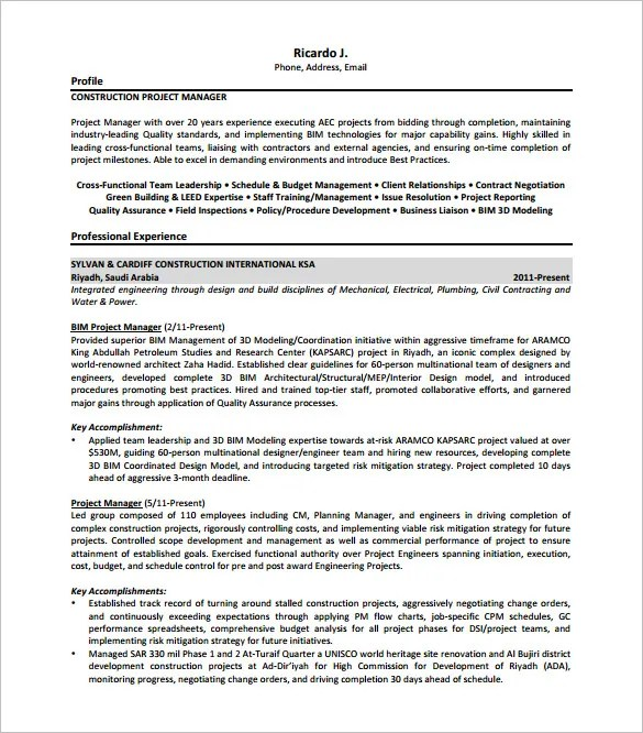 construction project manager resume examples management resume pmp resume samples pmp resume sample construction project sample - Project Management Resume Templates