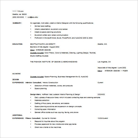 interior design resume format pdf. Black Bedroom Furniture Sets. Home Design Ideas