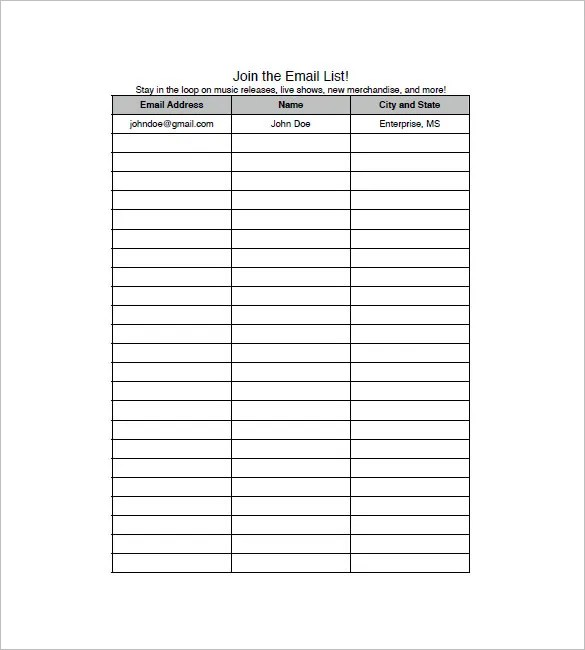Such a template has been designed keeping the purpose in mind and would be of great help to you. Email List Template 10 Free Word Excel Pdf Format Download Free Premium Templates