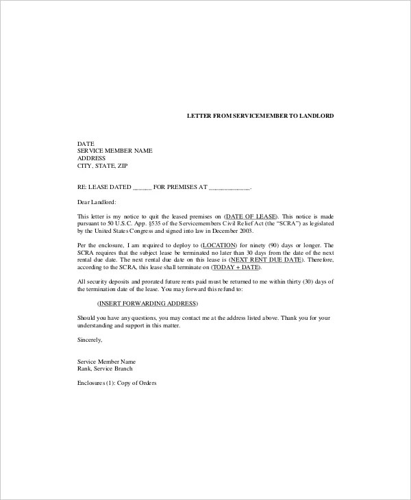 Lease Cancellation Letter  Docoments Ojazlink