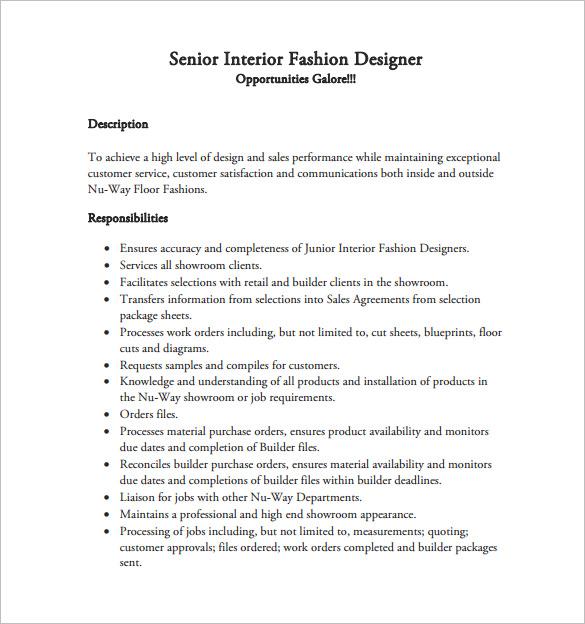 Senior interior designer job description - Interior design resume templates ...