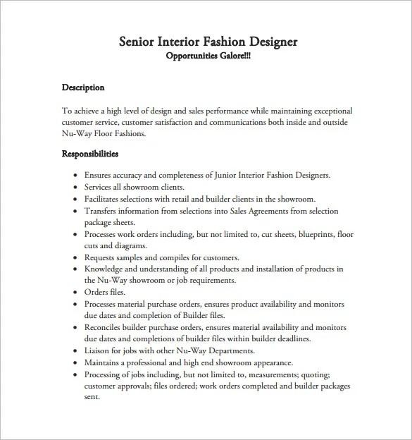 job description for fashion designer