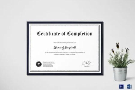 Certificate Template   45  Free Printable Word  Excel  PDF  PSD     Blank Completion Certificate Photoshop Template