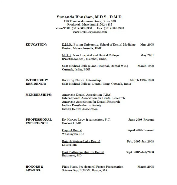 resume for doctors
