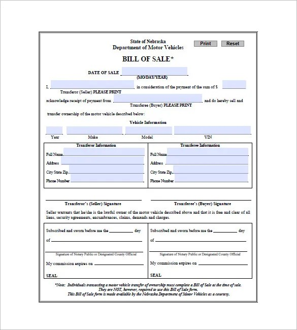 bill of sale forms for cars free download
