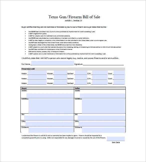 firearm bill sale tx