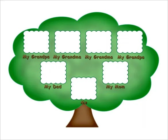 All you need to take print out the picture or simply ask your kids to draw a tree on a white paper and color it in green. Kids Family Tree Template – 10+ Free Sample, Example