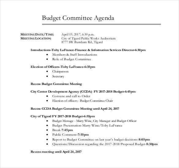 50+ Meeting Agenda Templates - PDF, DOC | Free & Premium ...