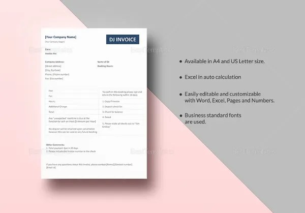 Dj Invoice Template   8  Free Word  PDF Documents Download   Free     DJ Invoice Template in Excel