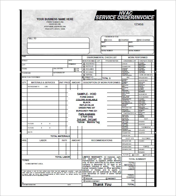 HVAC Invoice Template 7 Free Word Excel PDF Format
