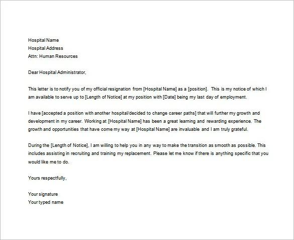 Samples Of Resignation Letters For Nurses Docoments Ojazlink