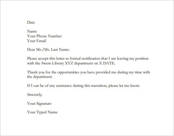 Resignation Letter Template  All Form Templates