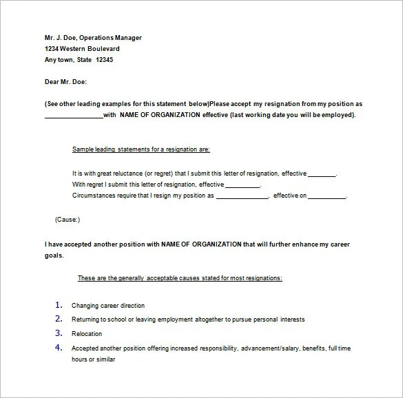 one day resignation letter